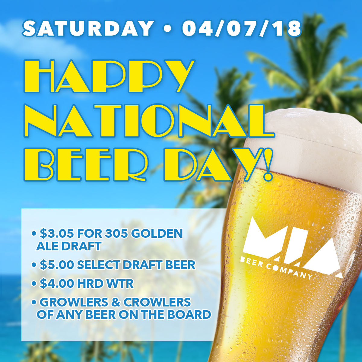 NATIONAL BEER DAY @ M.I.A. Beer Company  | Miami | Florida | United States